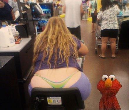 Elmo. She sat on my twinkies.. MFW fat women do this . elmo Walmart Fat Girl twinkies