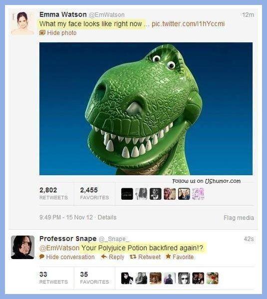 Emma Watson gets an appropriate response. Emma Watson gets an appropriate response… . What . face IDDLE like rt . . Hide photo Taming us an Professer Snape 'j _ 9lols