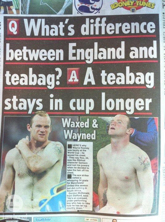 "England and Teabags. So true.... l, W at' s difference l, between England and l teabag? A A teabag Taite ""ll ll' England World Cup fail teabag"