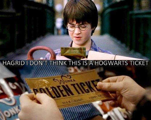 Epic lol. lol. HAGRID' ' TH. IS A HOGWARTS TICKET. Charlie, ur a wizard. Donted