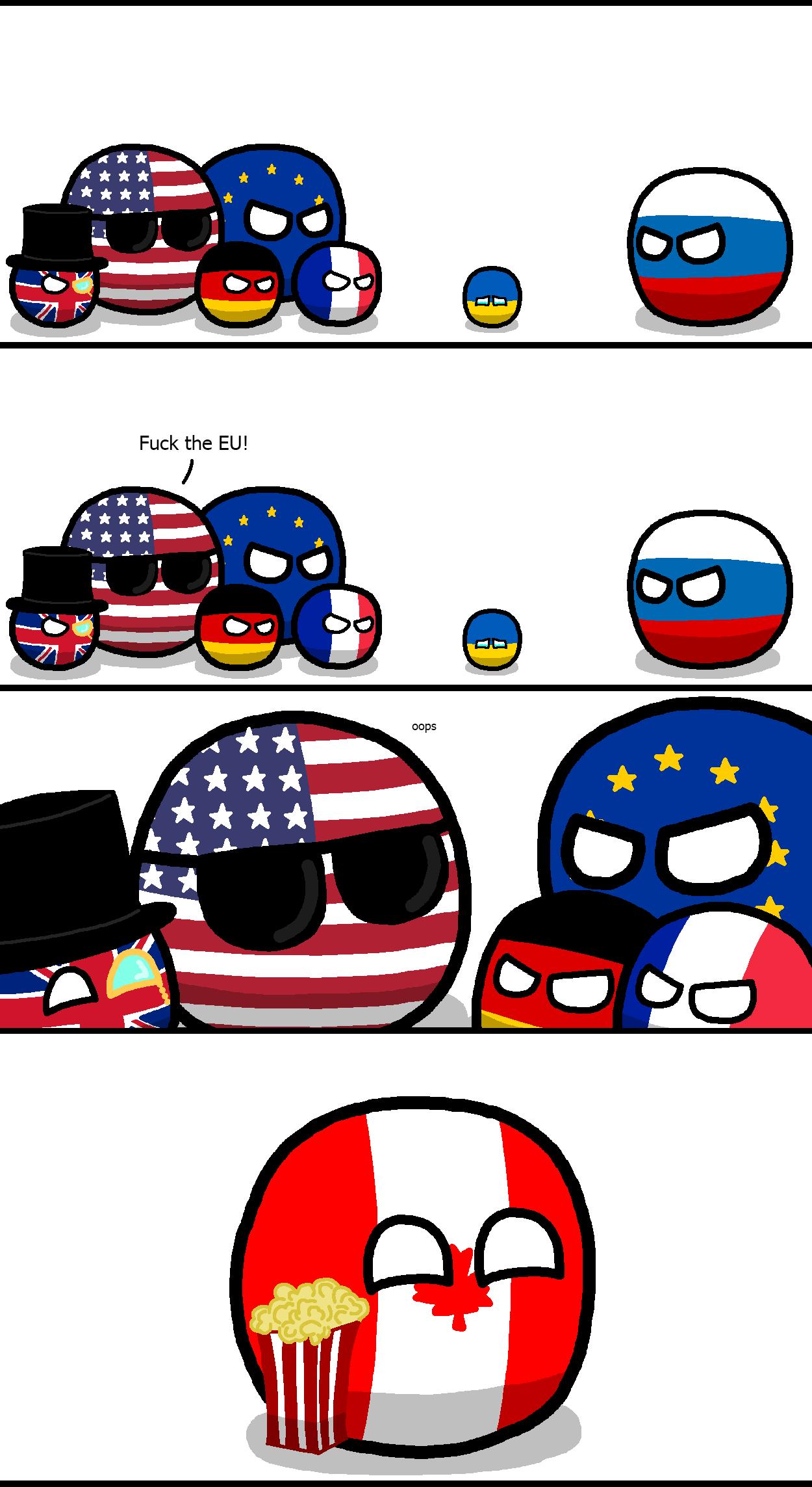 "EU v. Russia in Ukraine. Not OC. Credit to ""koleye"" on polandball reddit. ukraine Polandball"