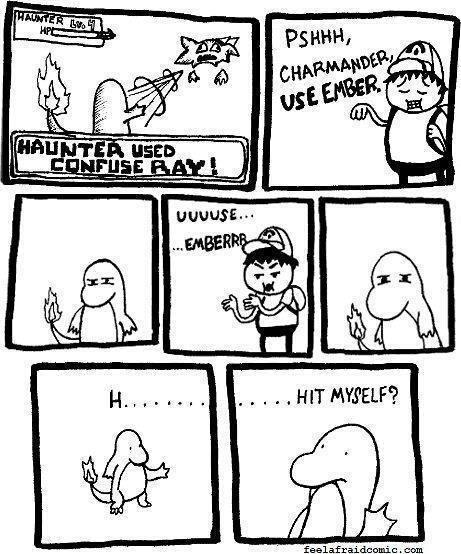 "Every. Single. Time.. not mine just wanted to share. credit to feelafraidcomic.com.. yatatim ""NWI. EVERTIM! EVERTIM! Pokemon confusion"