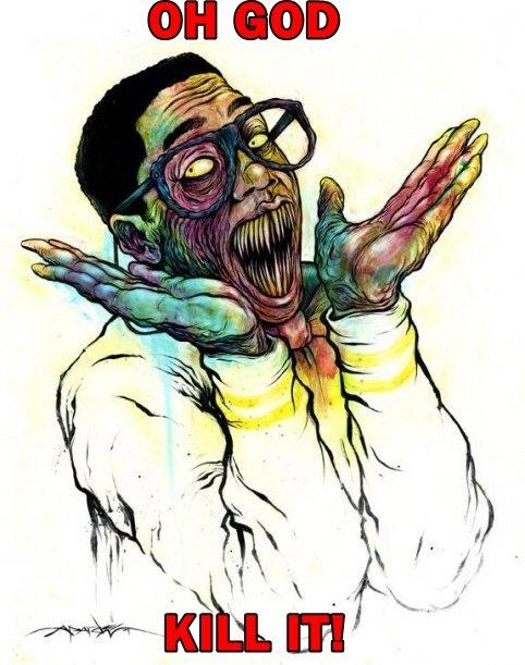 Evil Urkel. With fire!.. thats an alex pardee painting, i love his work steve urkel kill it