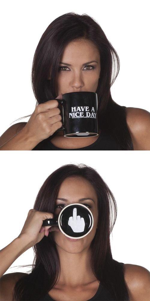 evil. . funny Coffee mug flip off