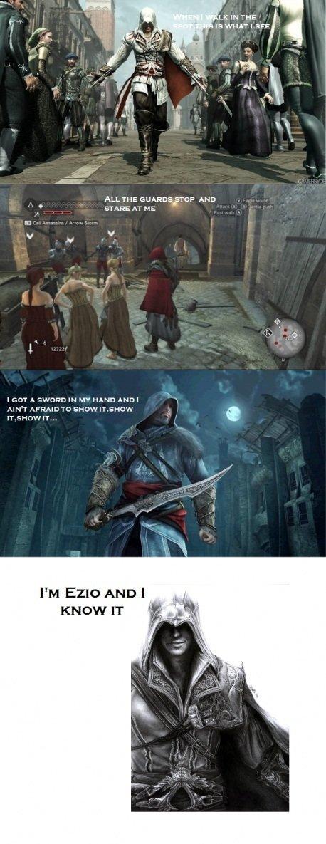 Ezio. iS awsum. IE WHAT l SEE AT HE I GOT A MT h PM Emu AND I _ Ezio iS awsum IE WHAT l SEE AT HE I GOT A MT h PM Emu AND _
