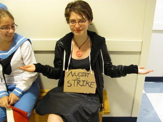 Halloween Costume: Nudist on Strike. .. God I hate lazy cosumes nudist strike Halloween Costume