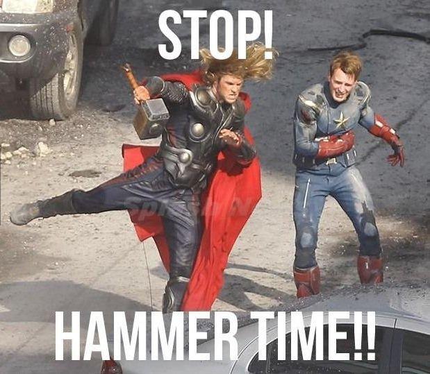 Hammer time!. . thor Captain America Hammer Time