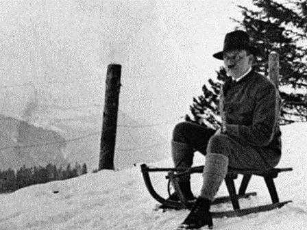 Hitler on sled. Looks like he's having fun.. Hitler sled Snow