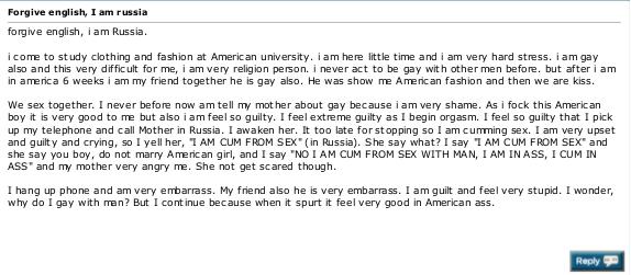 I am Russia. worth the read u get vodka when ur done.. <the russian guy russia vodka i am Gay