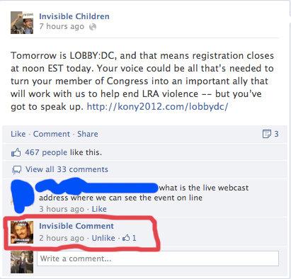 i lold. invisible children get invisible comments. i lold invisible children get comments