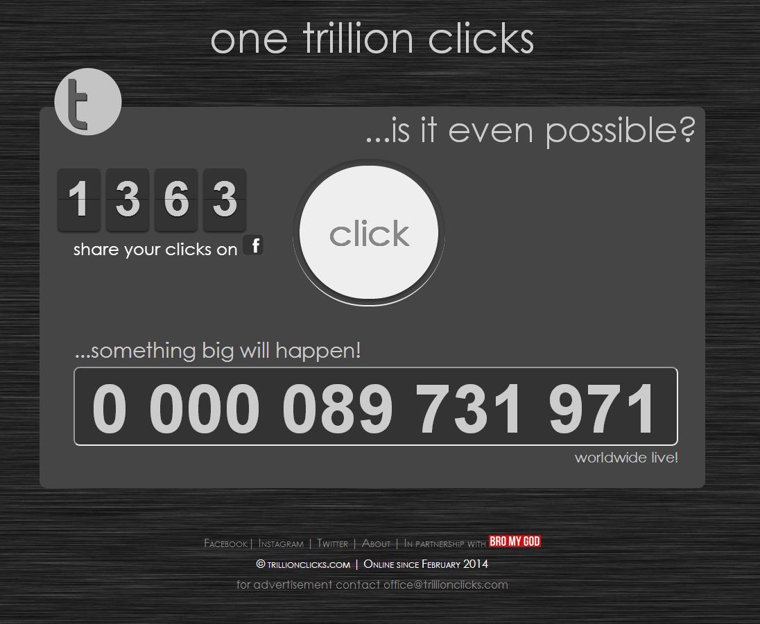 i love this . is it possible? www.trillionclicks.com. C) r' lei) Trillion clicks IUPU share your clicks on f seme' raing big will happen! 000 089 731 971 I worl trillionclicks o