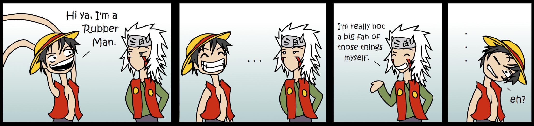 I'm a Rubber Man!. Credit to the creator.. one piece Naruto luffy Jiraiya