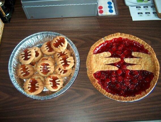 I made a pie. guess the flavor.. Those are weird sideways Batman pies... Better luck next time goatse