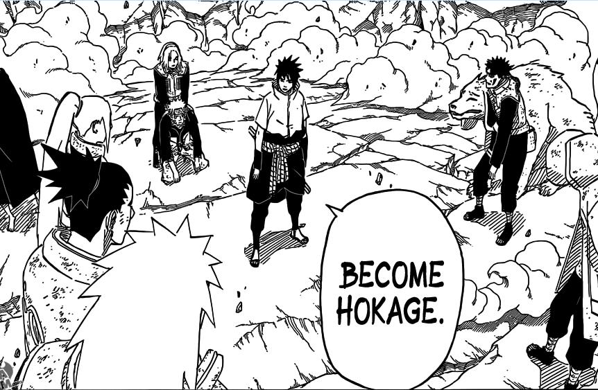 I want to.... WHOT? What are you smoking, Kishimoto?.. i actually think he would make a better hokage than naruto, but the next hokage has to be kakashi Naruto sasuke hokage