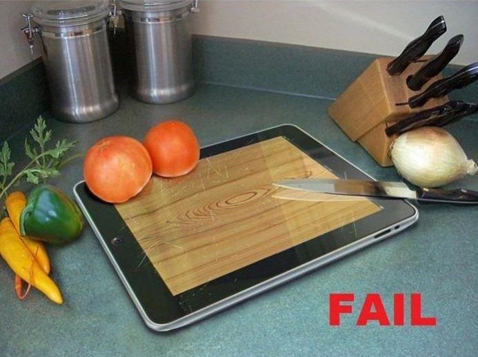 IPad Chopping board - Fail.. Not mine, just found it funny... fixed IPad Chopping board - Fail Not mine just found it funny fixed