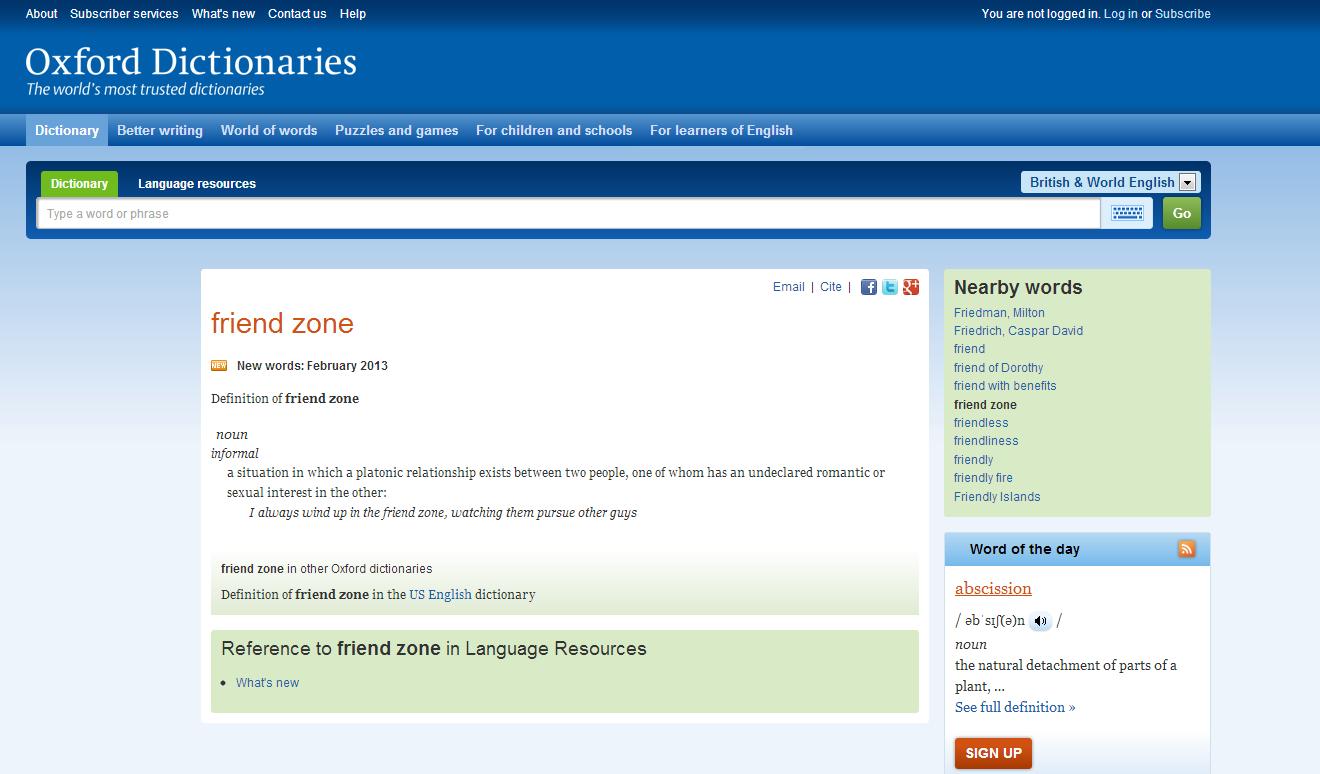 It's in the goddamn Dictionary. . oxford dictionary friendzone monkeys taste li