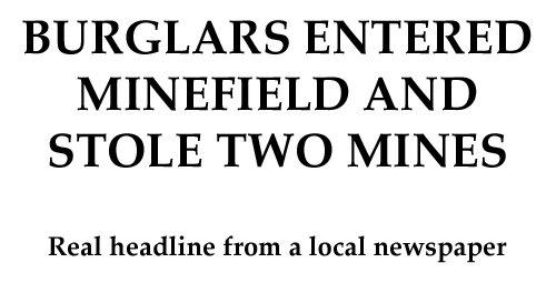 Like a boss. True story.. BURGLARS ENTERED lln/ lerl) AND Real headline from a local newspaper minefield burglars Like A Boss