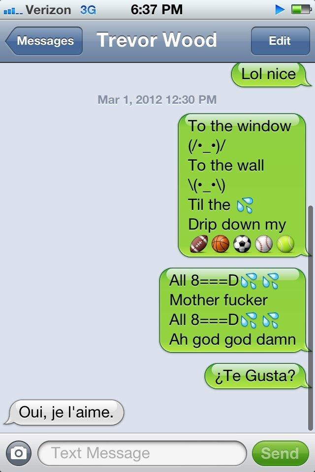 LOL. Lil Jon-Get Low. u, Verizon 6: 37. PM F GE Messages Trevor Wood Text Message I' -. the game