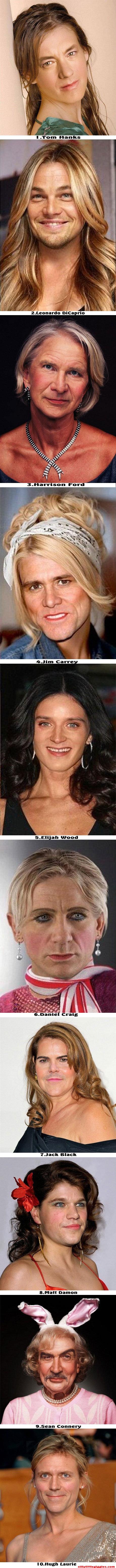Male celebrities as women. Source: www.facebook.com/SillyLittleGiggles sillylittlegiggles.com/male-celebriti.... 7.. lack Black Male Celebrities women Photoshop