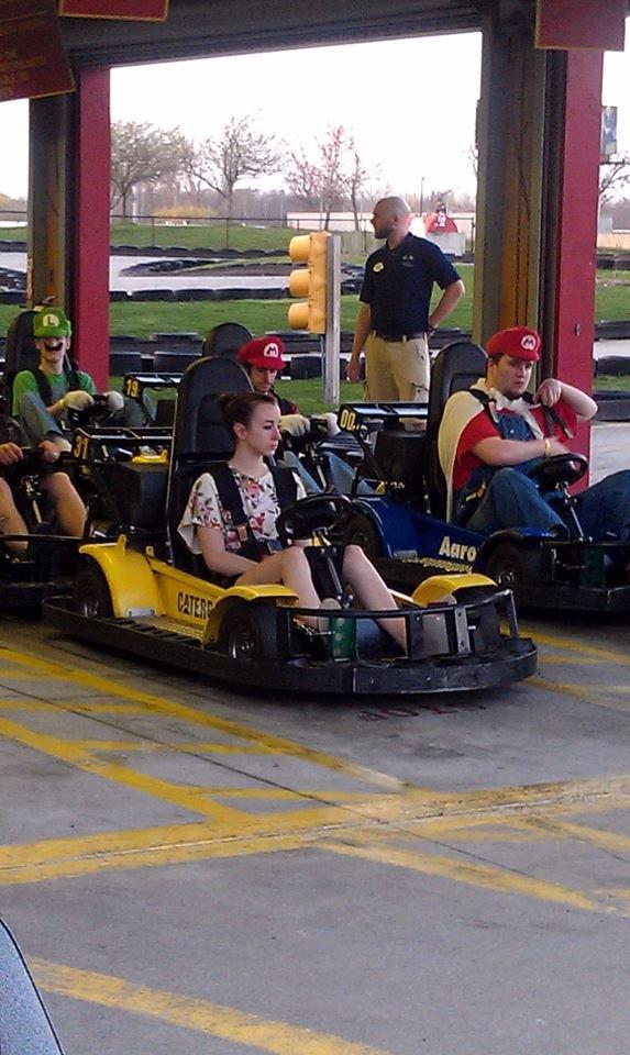 Mario Kart. she is screwed.. And then she say's something like, look everyone looks like zeldas. Mario