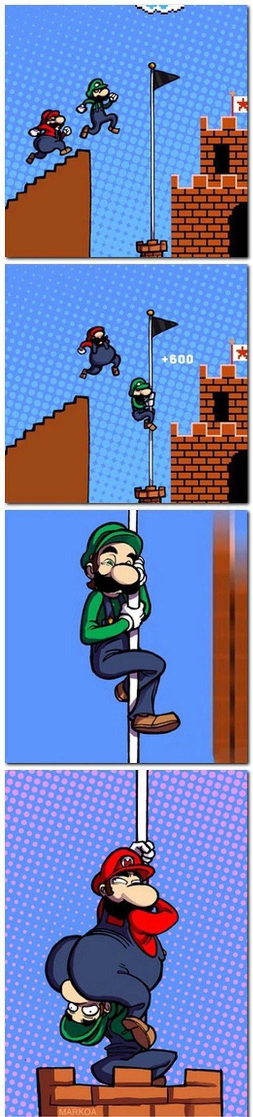 mario & luigi. Super Mario Bros. (スーパーマリオブラザーズ Sūpā Mario Burazāzu?) is a 1985 platform video game internally developed by Nintendo EAD and published by Nintend Mario luigi