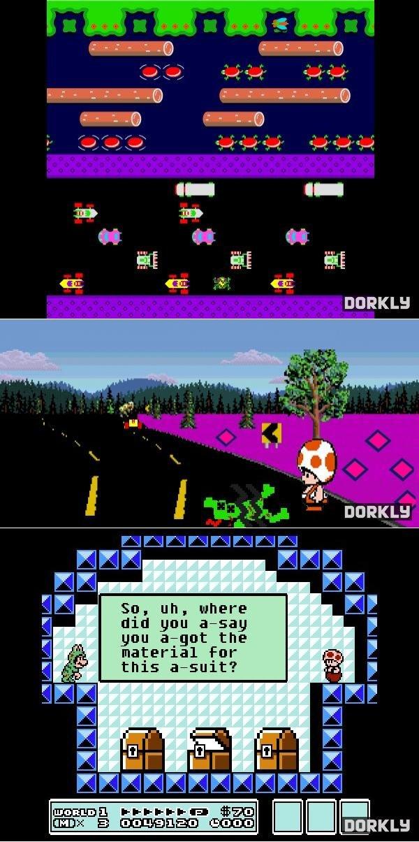 Mario Mindfuck. Mario toad frogger frog suit Roadkill