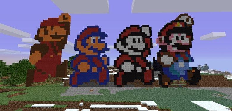 Mario Sprite Timeline Made in Minecraft. By Jacob Scott<br /> jacobislolz.tumblr.com. h. 'bats. Jacob :D :D :D Mario sprite timeline Minecraft pixel Art