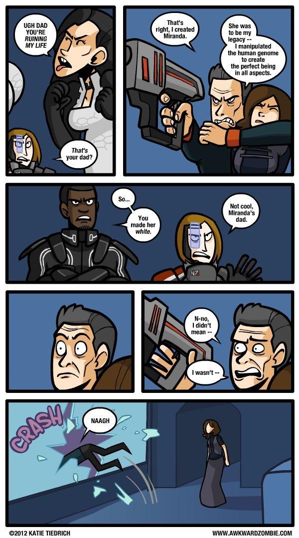 mass effect is racist.. creds to awkwardzombie awkwardzombie.com/. awkward zombie mass effect miranda