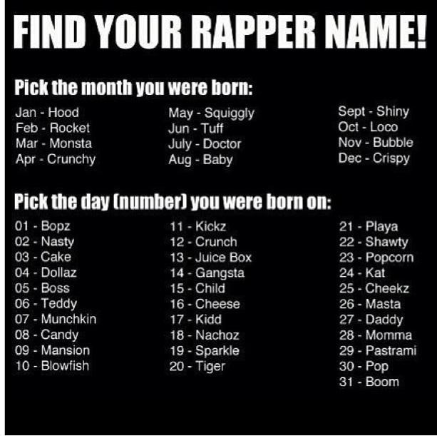 "MC Bubble Masta. word.... FINE NIH! RAPPER NAME! Platt the ' UNI : Jan - Heed May - Savagly Sept - Shiny Fed . Hacked mm "" Ted Oct . Loco Mar . Monst;. t July - MC Bubble Masta word FINE NIH! RAPPER NAME! Platt the ' UNI : Jan - Heed May Savagly Sept Shiny Fed Hacked mm "" Ted Oct Loco Mar Monst; t July"
