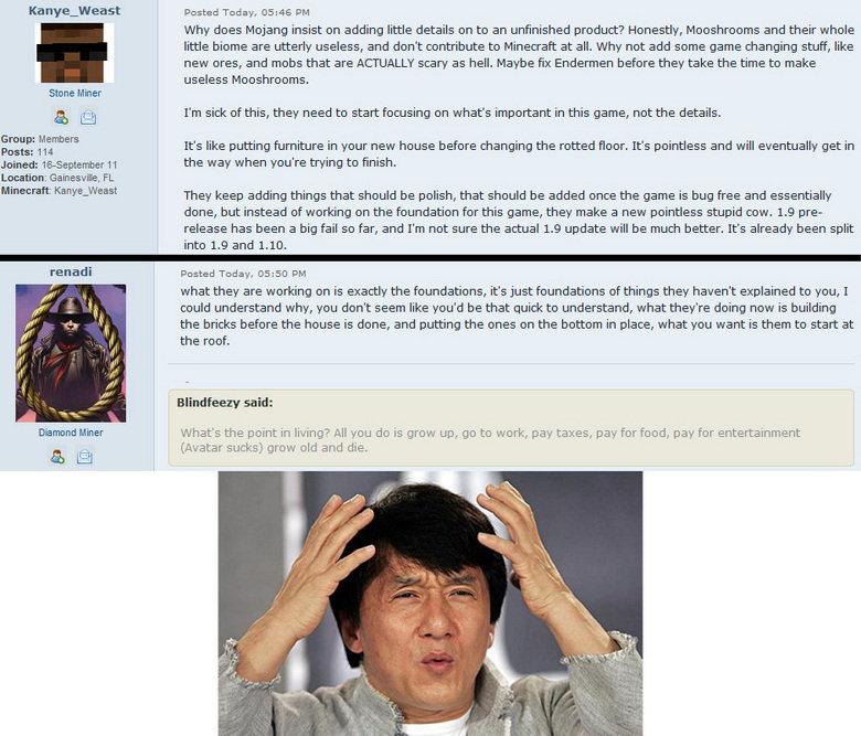 mc community logic. I swear that forum is full of retards.... mc community logic I swear that forum is full of retards