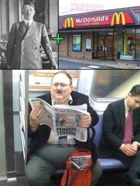 Mcdonalds + Hitler. = Fat hitler.. Penis tension Mcdonalds + Hitler = Fat hitler Penis tension
