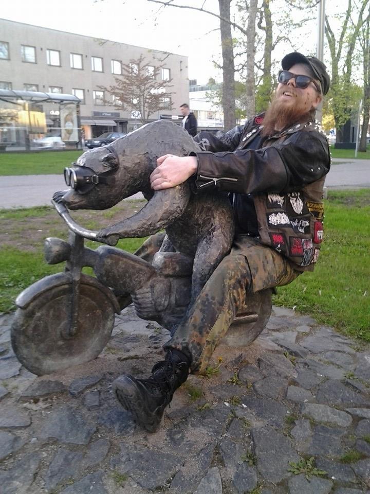Meanwhile in Finland.... Meanwhile in Finland... a drunk guy ridding a bear ridding a moto while bronzed. OC .. Suomi mainittu, torilla tavataan! A bear is fine too. meanwhile Finland Suomi drunk Bear bike OC original metal Hardcore heavymetal