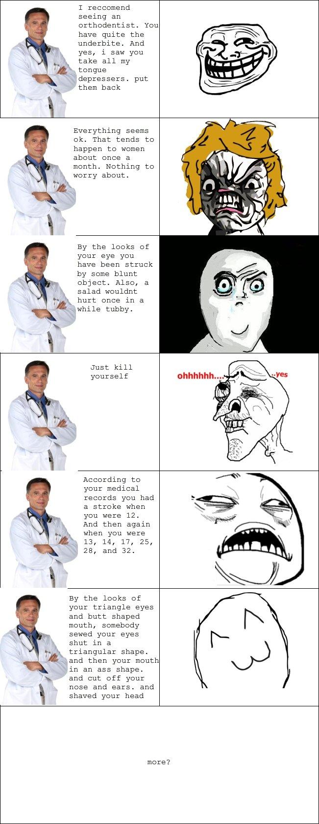 Meme Diagnosis Part 2. part tre possibly? part 1: /funny_pictures/2384390/Meme+Diagnosis/. T reccomend seeing an You have guite the underbite. And yes, l saw yo Meme Diagnosis