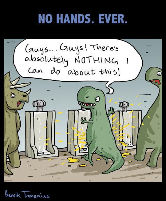 Messy. by Henrik Tomenius. Cows do this', Toilet pee piss dinosaur dinosaurs Dino