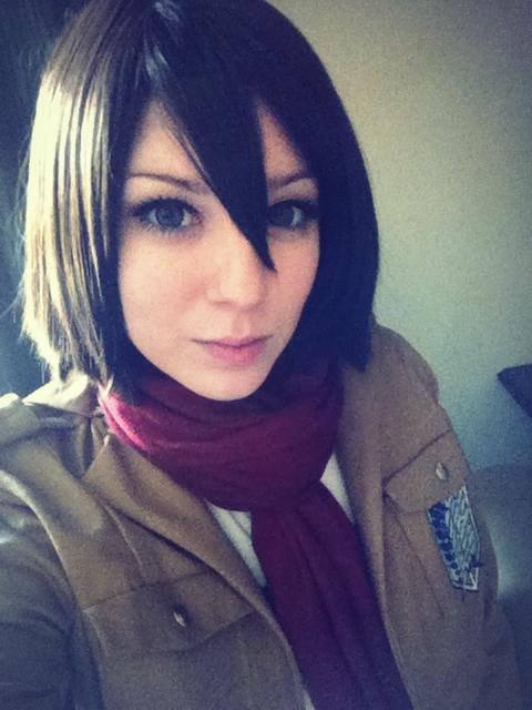 Mikasa Cosplay. source .. is actually eren cosplay Attack on Titan Mikasa