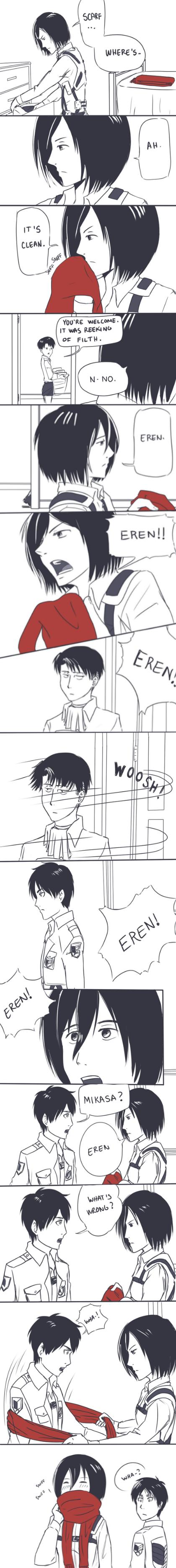 Mikasa's Thirst Is Real. . Shingeki Kyojin titan attack Mikasa Eren Scarf levi