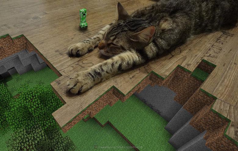 Minecraft epic photoshop. .. Obviously fake. Creepers are scared of cats. Minecraft epic photoshop Obviously fake Creepers are scared of cats