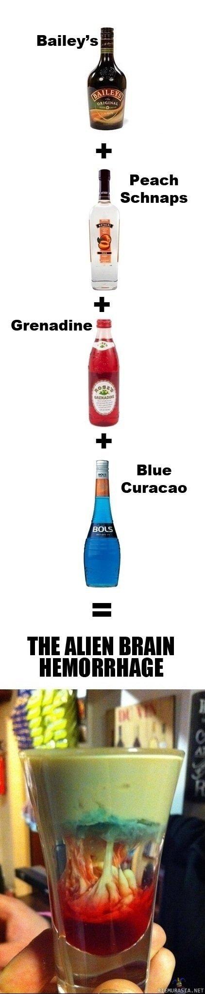 "Mixing drinks. . Bailey' s ' Peach Schnaps Grenadine "" Blue Curacao m MIR! BRAIN. Baileys, mmm creamy. Taste like death"