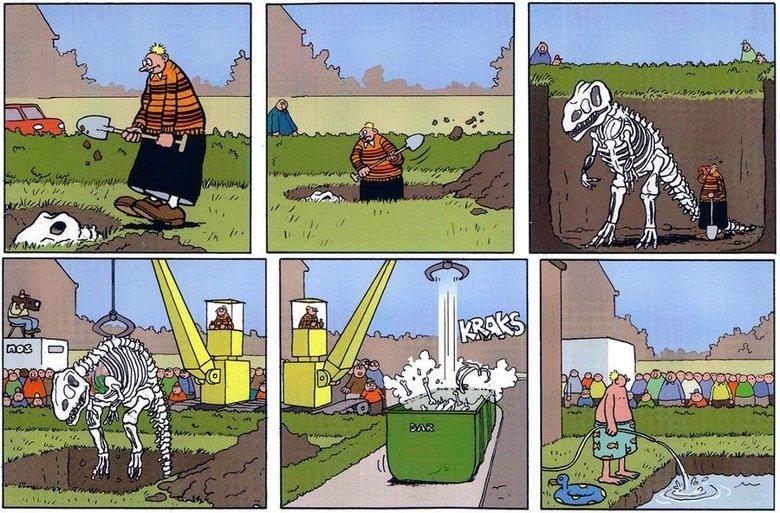 Modern day palaeontology. Made by Mark Retera, Dutch cartoonist.. dinosaur dirkjan Pool