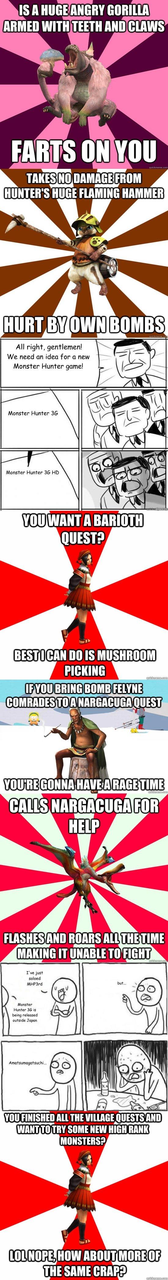 Monster Hunter Meme Comp 3. Here's the first: www.funnyjunk.com/funnypictures/3534546/Monster+Hunter+Comp/ Here's the second: www.funnyjunk.com/funnypictures/37 monster hunter MEMES