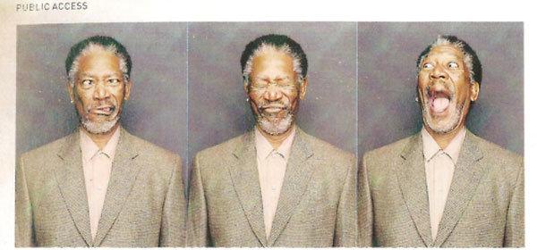Morgan Freeman in a photobooth. . Morgan Freeman in a photobooth