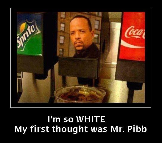 Mr. Pibb?. It's really Ice-T.. I' m so WHITE My first thought was Mr. Pibb Mr Pibb? It's really Ice-T I' m so WHITE My first thought was Pibb