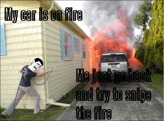 My car is on fire. . my car is on fir