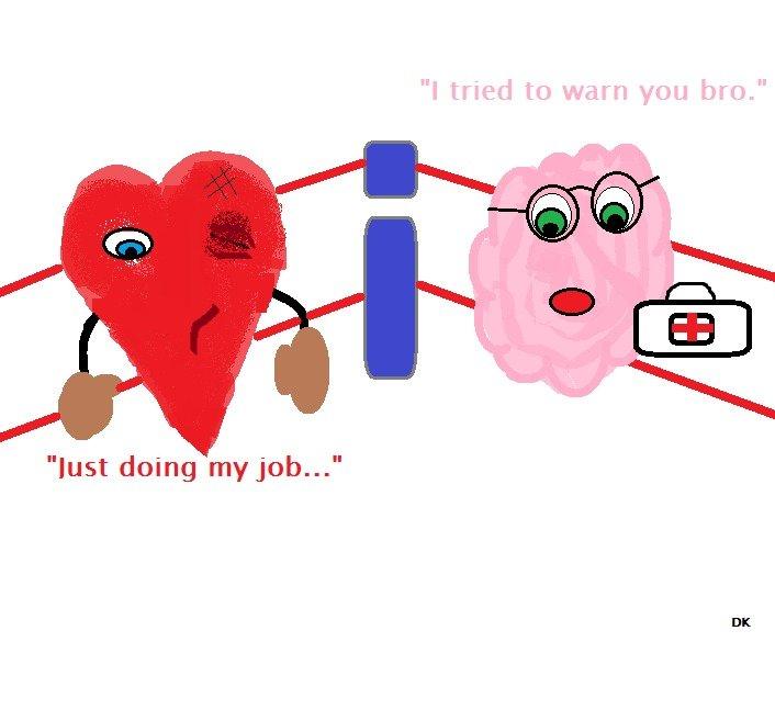 "My Life.. you brain.. lust doing my jab..."" Brain heart Life"