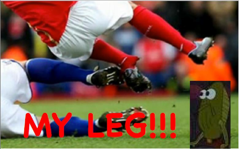 MY LEG!. Haha, I read it in his voice.. LOL! i remember that fish always crying MAH LEG those were da days MY LEG