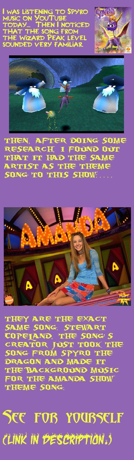"My Mind Was Blown. Amanda Theme: www.youtube.com/watch?v=K-sc1hlHR-A&f... Spyro: www.youtube.com/watch?v=-yQNs6SAXEE&f.... THAT THE SONG mom ""E iie '. . THE ' D spyro amanda show"