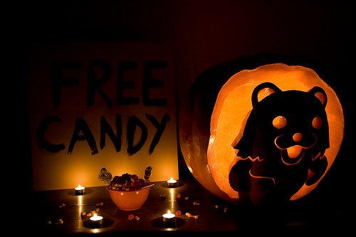 "Pedobear Pumpkin. Creeeeeeepyyyyyy!!!!.. kid walks up ""ooooOOooo, free candddyy!!!!"" kid next to him catches him by the arm. ""wait"" squints eyes ""i think its a trap""... pedobear pedo Bear funny School lollies Halloween Pumpkin Rape"