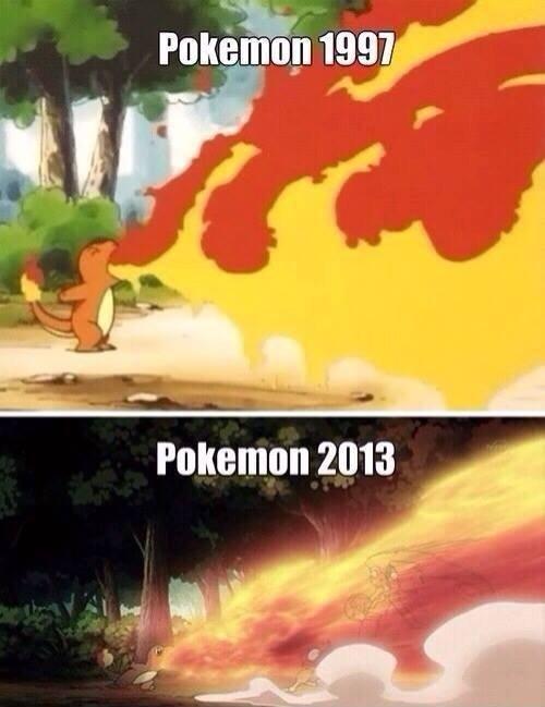 Pokemon - 1997 vs 2013. . Pokemon - 1997 vs 2013