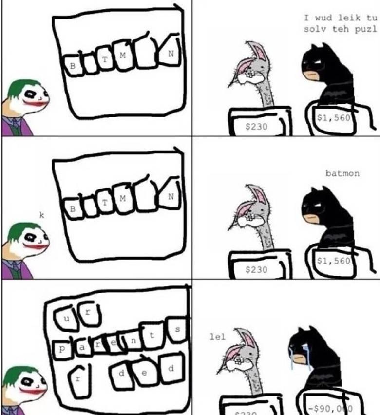 Poor Batmon. .. He got this for trying Poor Batmon He got this for trying