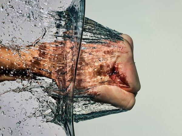 Punching water. You show that water who's boss. liquids